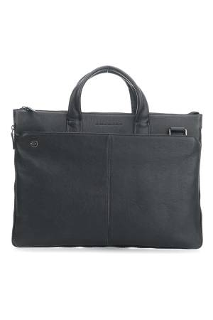 Piquadro Laptoptassen Black Square Expandable Slim Computer Bag