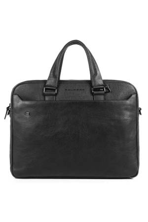 Piquadro Laptoptassen Black Square Two Handle Briefcase with two 10.5/9.7 laptop